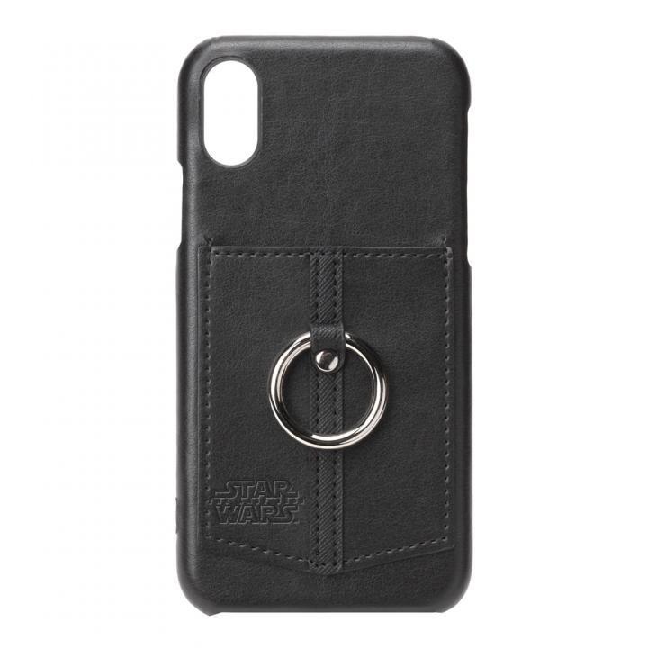 【iPhone XS/Xケース】スター・ウォーズ ハードケース ポケット&リング付き ロゴ/ブラック_0