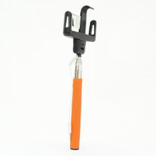 自分撮りモノポッド 遠隔操作シャッター付き オレンジ