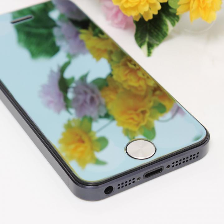 iPhone SE/5s/5 フィルム iPhone SE/5s/5/5c 保護フィルム 強化ガラスミラーブルー_0
