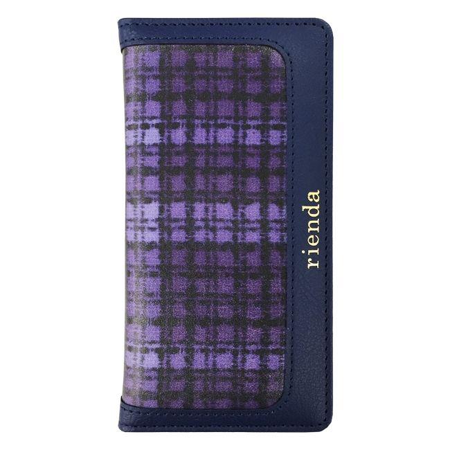 rienda 手帳型ケース ツイードプリント ネイビー iPhone 8/7