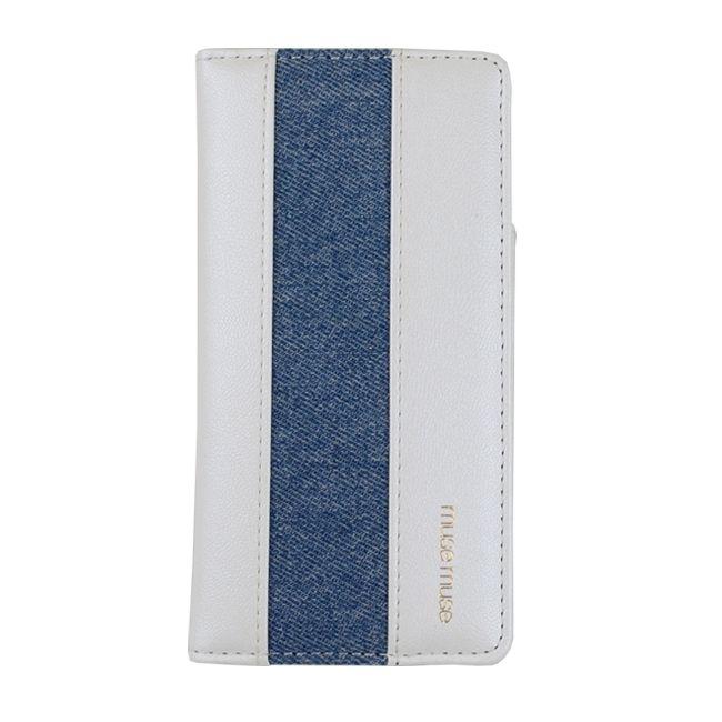 【iPhone8/7ケース】musemuse 手帳型ケース lineデニム/ホワイト iPhone 8/7_0