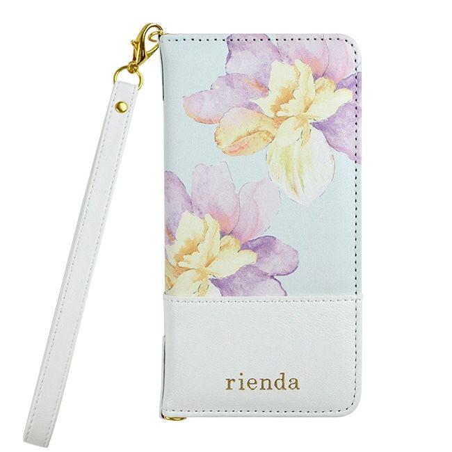 【iPhone8/7ケース】rienda 手帳型ケース バイカラーフラワー ロージー/ホワイト iPhone 8/7_0