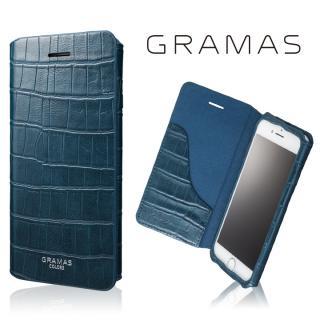 GRAMAS COLORS 型押しクロコPUレザー手帳型ケース EURO Passione 3 ネイビー iPhone 8/7