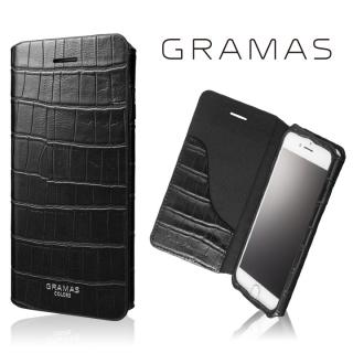GRAMAS COLORS 型押しクロコPUレザー手帳型ケース EURO Passione 3 ブラック iPhone 7