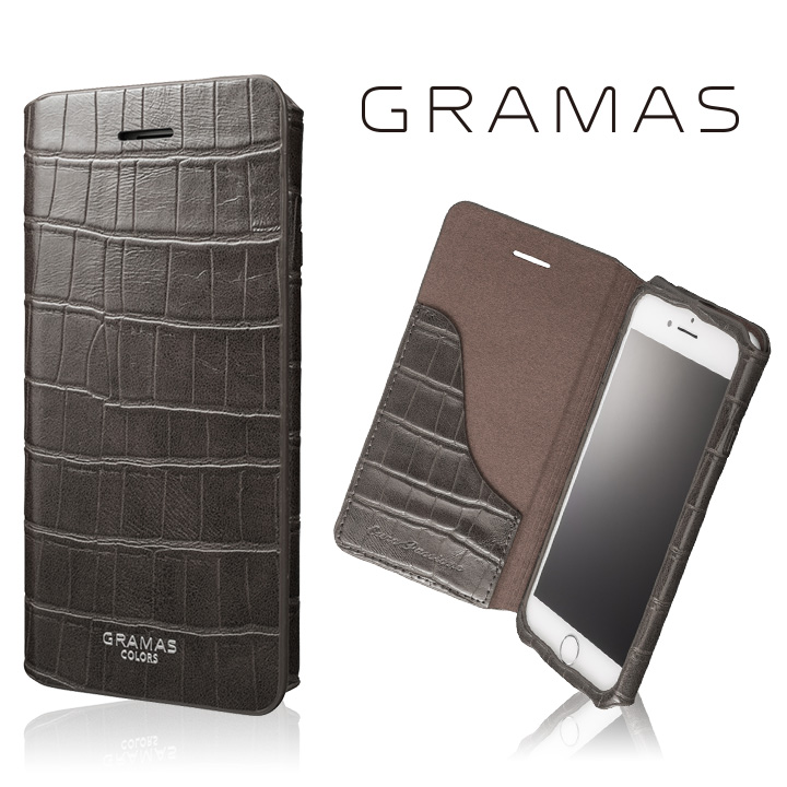 iPhone8/7 ケース GRAMAS COLORS 型押しクロコPUレザー手帳型ケース EURO Passione 3 グレイ iPhone 8/7_0