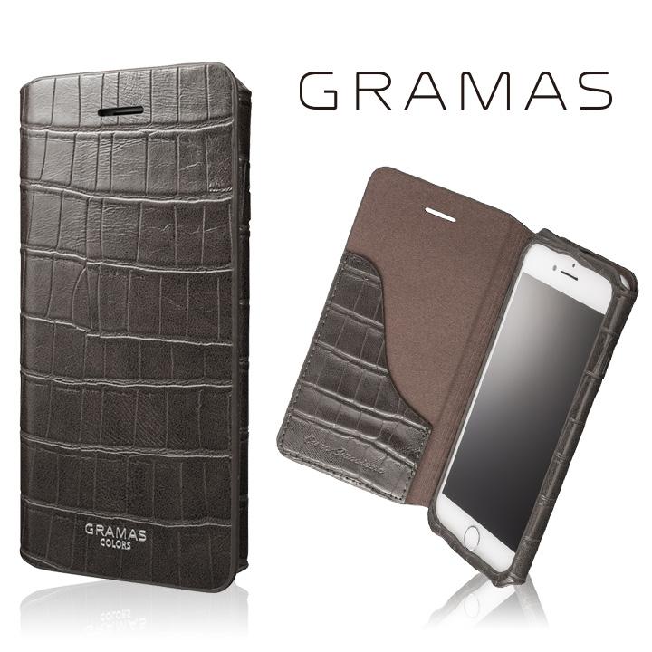 【iPhone8/7ケース】GRAMAS COLORS 型押しクロコPUレザー手帳型ケース EURO Passione 3 グレイ iPhone 8/7_0