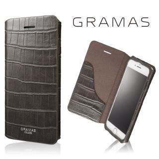 GRAMAS COLORS 型押しクロコPUレザー手帳型ケース EURO Passione 3 グレイ iPhone 7
