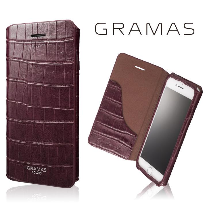 iPhone8/7 ケース GRAMAS COLORS 型押しクロコPUレザー手帳型ケース EURO Passione 3 バーガンディ iPhone 8/7_0