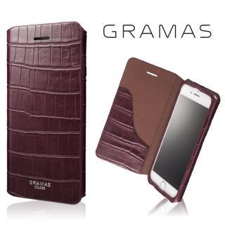 GRAMAS COLORS 型押しクロコPUレザー手帳型ケース EURO Passione 3 バーガンディ iPhone 8/7