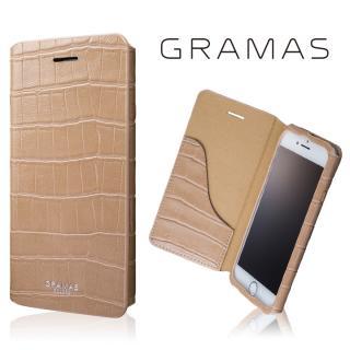 GRAMAS COLORS 型押しクロコPUレザー手帳型ケース EURO Passione 3 ベージュ iPhone 8/7【10月下旬】
