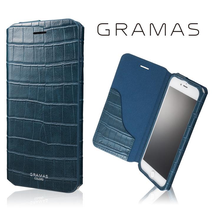 iPhone8 Plus/7 Plus ケース GRAMAS COLORS 型押しクロコPUレザー手帳型ケース EURO Passione 3 ネイビー iPhone 8 Plus/7 Plus_0