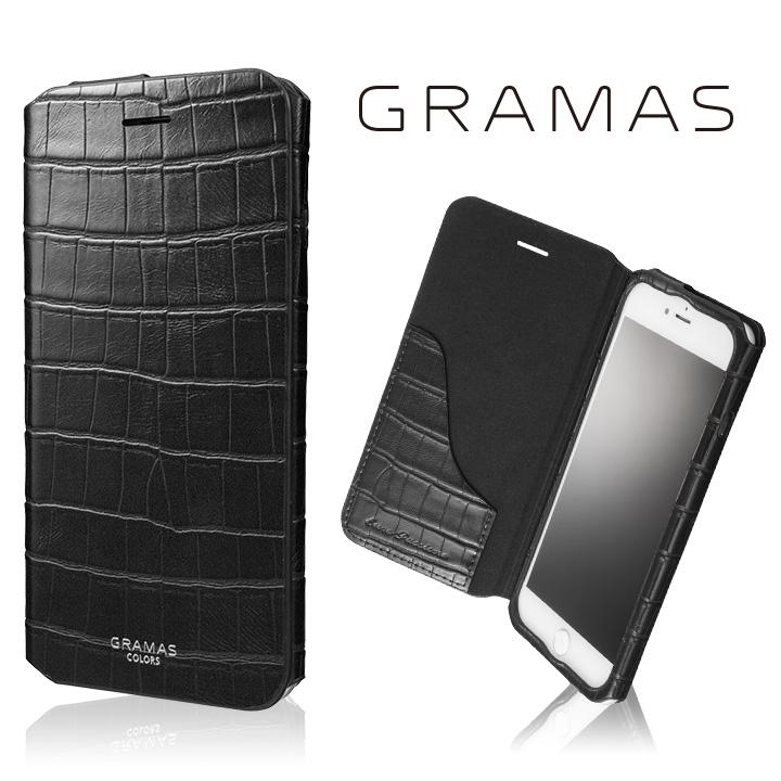 【iPhone8 Plus/7 Plusケース】GRAMAS COLORS 型押しクロコPUレザー手帳型ケース EURO Passione 3 ブラック iPhone 8 Plus/7 Plus_0