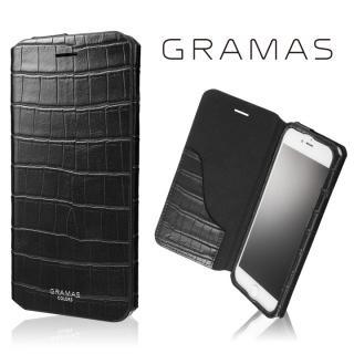 GRAMAS COLORS 型押しクロコPUレザー手帳型ケース EURO Passione 3 ブラック iPhone 8 Plus/7 Plus