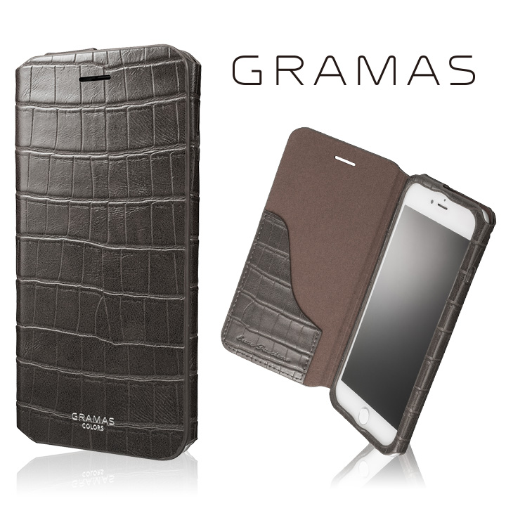 iPhone8 Plus/7 Plus ケース GRAMAS COLORS 型押しクロコPUレザー手帳型ケース EURO Passione 3 グレイ iPhone 8 Plus/7 Plus_0