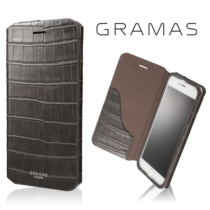 GRAMAS COLORS 型押しクロコPUレザー手帳型ケース EURO Passione 3 グレイ