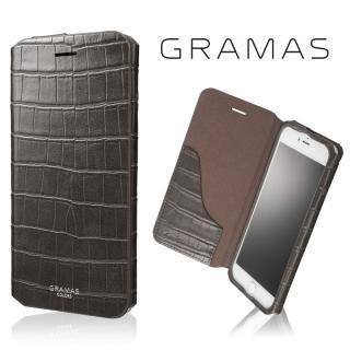 GRAMAS COLORS 型押しクロコPUレザー手帳型ケース EURO Passione 3 グレイ iPhone 8 Plus/7 Plus