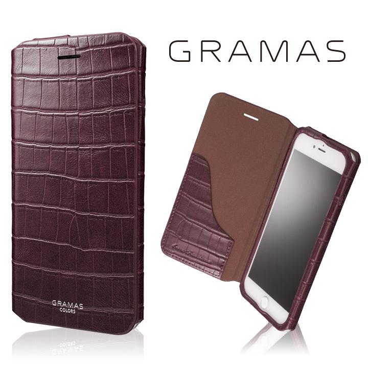 iPhone8 Plus/7 Plus ケース GRAMAS COLORS 型押しクロコPUレザー手帳型ケース EURO Passione 3 バーガンディ iPhone 8 Plus/7 Plus_0