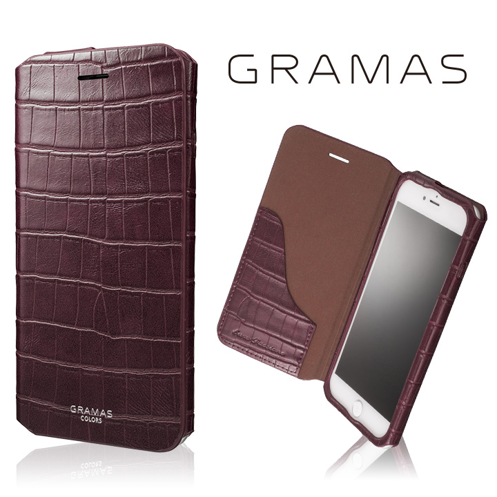 【iPhone8 Plus/7 Plusケース】GRAMAS COLORS 型押しクロコPUレザー手帳型ケース EURO Passione 3 バーガンディ iPhone 8 Plus/7 Plus_0