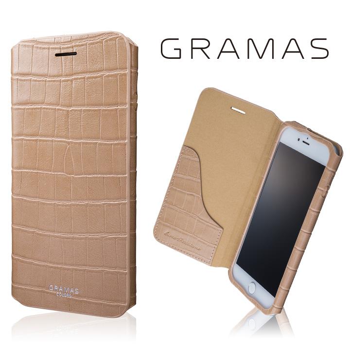 iPhone8 Plus/7 Plus ケース GRAMAS COLORS 型押しクロコPUレザー手帳型ケース EURO Passione 3 ベージュ iPhone 8 Plus/7 Plus_0