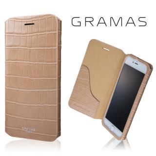 GRAMAS COLORS 型押しクロコPUレザー手帳型ケース EURO Passione 3 ベージュ iPhone 8 Plus/7 Plus