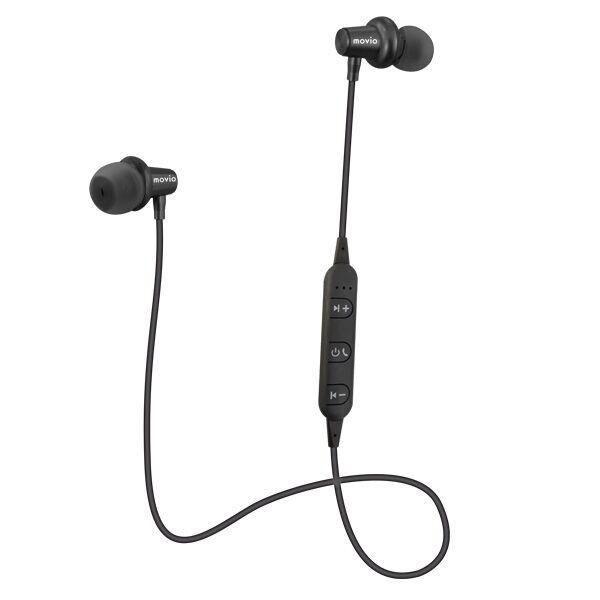 movio Bluetooth5.0対応 アルミニウムハウジング高音質ワイヤレスイヤホン ブラック_0