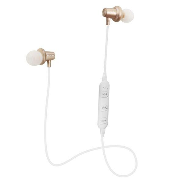 movio Bluetooth5.0対応 アルミニウムハウジング高音質ワイヤレスイヤホン シャンパンゴールド_0