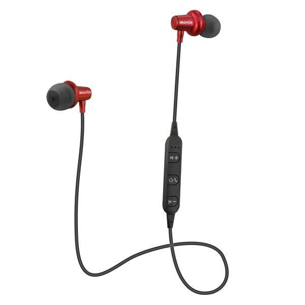 movio Bluetooth5.0対応 アルミニウムハウジング高音質ワイヤレスイヤホン レッド_0