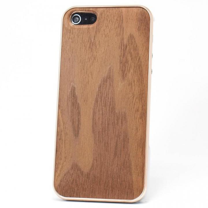 iPhone SE/5s/5 ケース REAL WOODEN iPhone SE/5s/5 ケース 「WoodGrain-木目-」 ウォールナット/PG_0