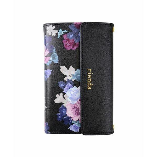 iPhone8/7 ケース rienda 財布型手帳ケース ローズブライト ブラック iPhone 8/7_0