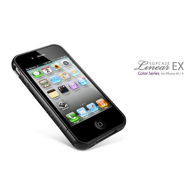 iPhone4/4s ケース リニア EX カラーシリーズ ソウルブラック