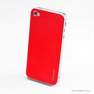その他のiPhone/iPod ケース iPhone4s/4 バックパネル GRAMAS Real Metal Back Panel 赤