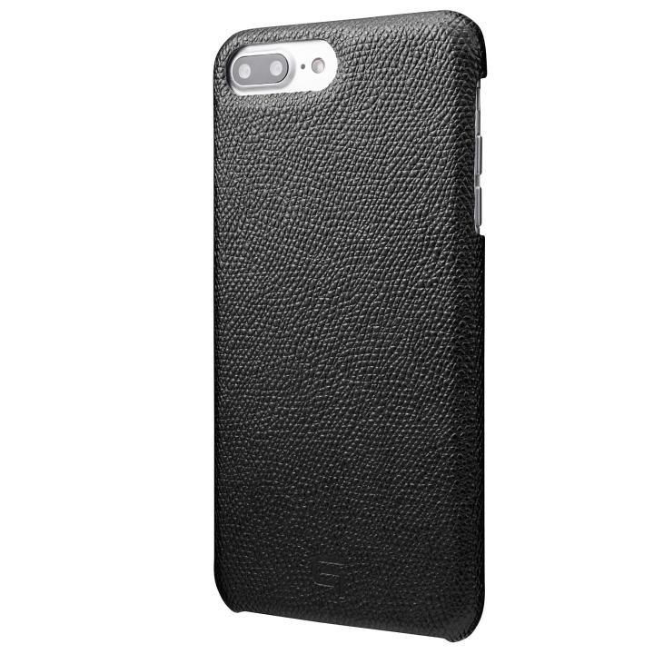 GRAMAS シボ打ち牛皮革 バックカバーケース ブラック iPhone 8 Plus/7 Plus