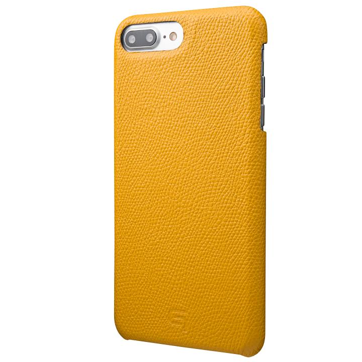 GRAMAS シボ打ち牛皮革 バックカバーケース イエロー iPhone 7 Plus