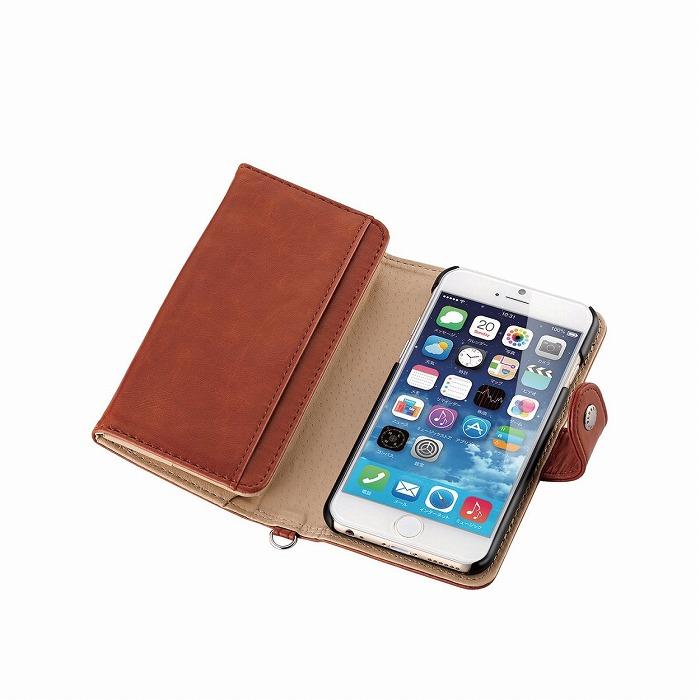 コインポケット付き ソフトレザー手帳型ケース ブラウン iPhone 6
