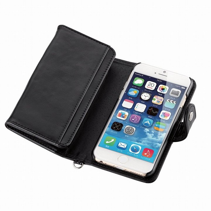 iPhone6 ケース コインポケット付き ソフトレザー手帳型ケース ブラック iPhone 6_0