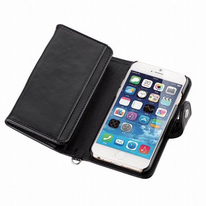 【iPhone6ケース】コインポケット付き ソフトレザー手帳型ケース ブラック iPhone 6_0