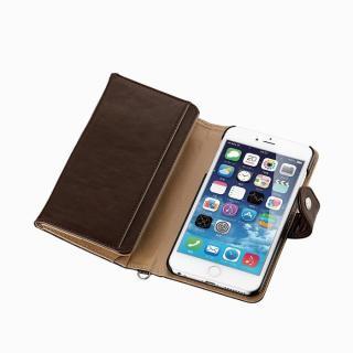 コインポケット付き ソフトレザー手帳型ケース ディープブラウン iPhone 6 Plus