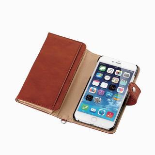 コインポケット付き ソフトレザー手帳型ケース ブラウン iPhone 6 Plus