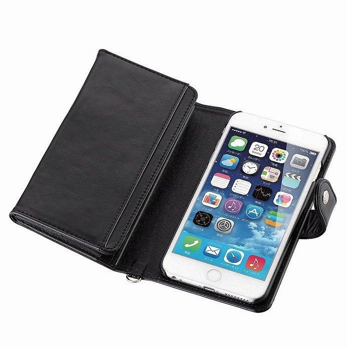 コインポケット付き ソフトレザー手帳型ケース ブラック iPhone 6 Plus