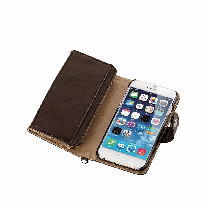 【iPhone6ケース】コインポケット付き ソフトレザー手帳型ケース ディープブラウン iPhone 6_0