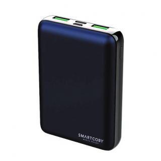 名刺サイズ10000mAhモバイルバッテリー「SMARTCOBY」ネイビー【6月中旬】