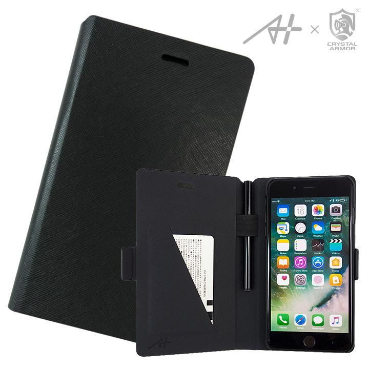 [2018年新春特価][A+×CRYSTAL ARMOR]Su-Penホルダー付き手帳型ケース Special Edition ブラック iPhone 7 Plus