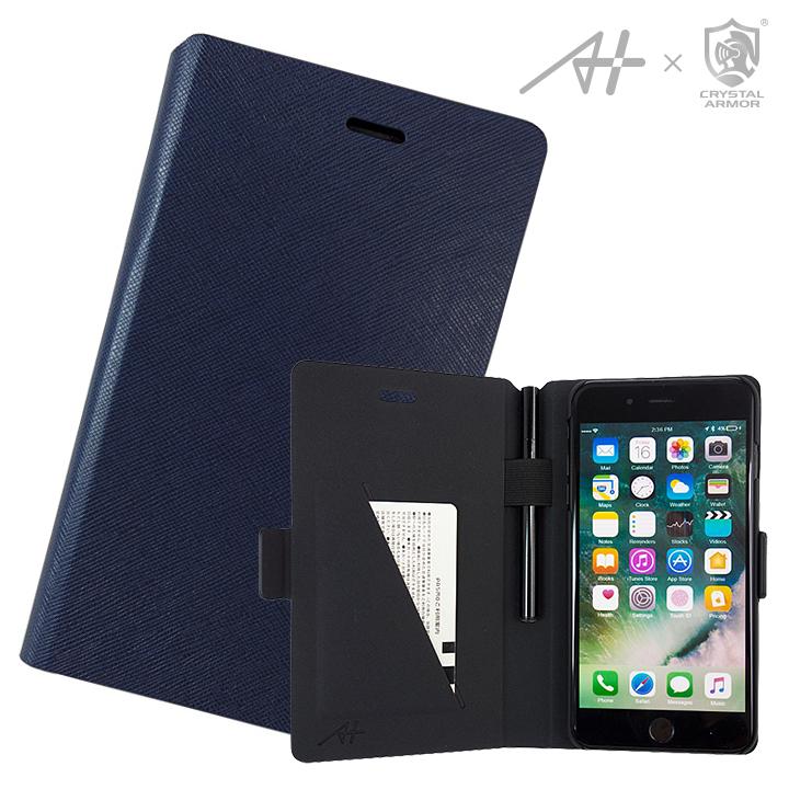 [新iPhone記念特価][A+×CRYSTAL ARMOR]Su-Penホルダー付き手帳型ケース Special Edition ネイビー iPhone 7 Plus