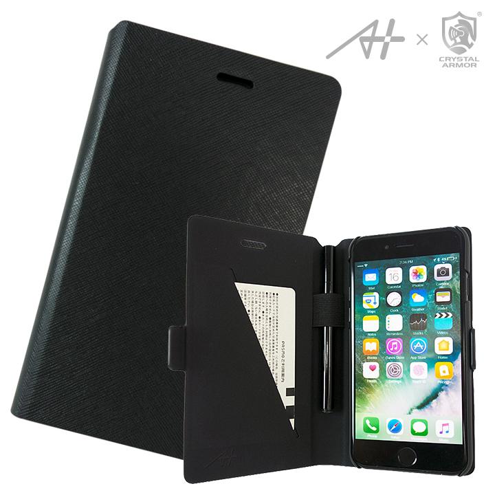 [2017年歳末特価][A+×CRYSTAL ARMOR]Su-Penホルダー付き手帳型ケース Special Edition ブラック iPhone 7