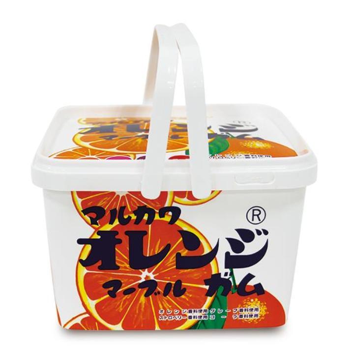 マルカワマーブル ガムバケツ 40袋入 オレンジ柄_0