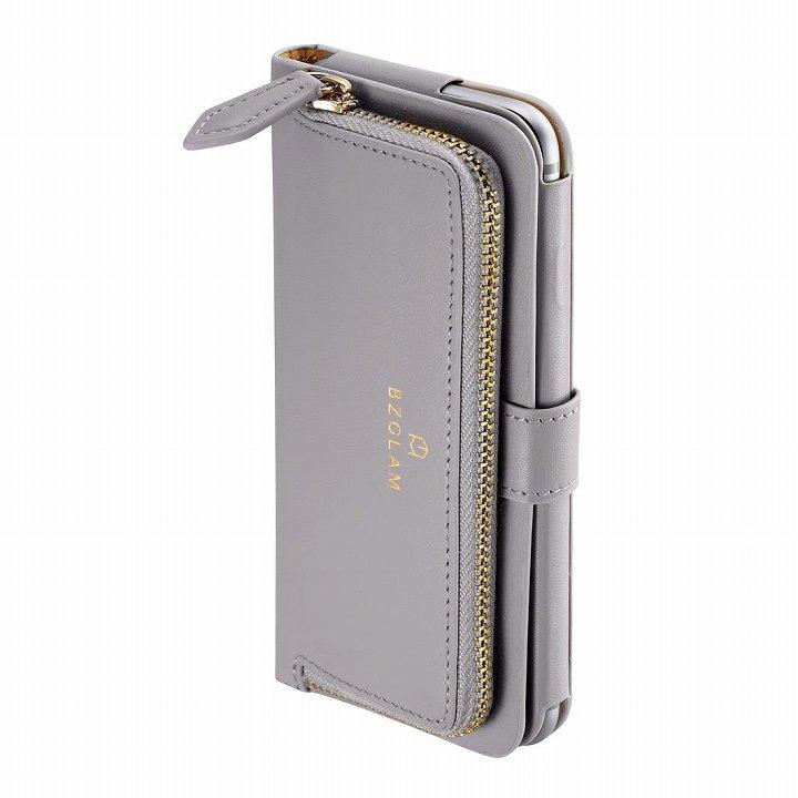 本レザーコインケース付き手帳型ケース BZGLAM グレイ iPhone 6