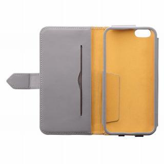 【iPhone6ケース】本レザーコインケース付き手帳型ケース BZGLAM グレイ iPhone 6_4