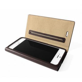 GRAMAS One-Sheet レザーチョコレート iPhone SE/5s/5 手帳型ケース