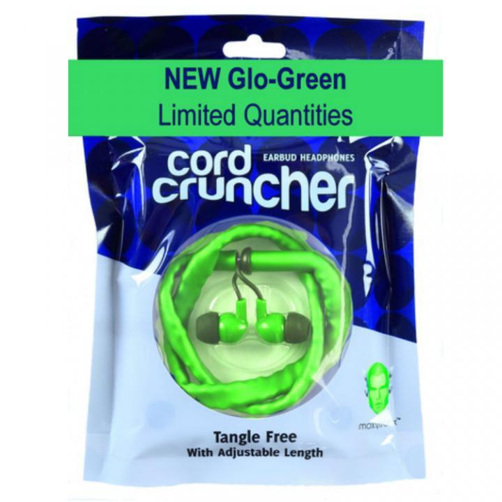 コードが絡まない、ブレスレットとして持ち運べるイヤホン コードクランチャー グローグリーン_0