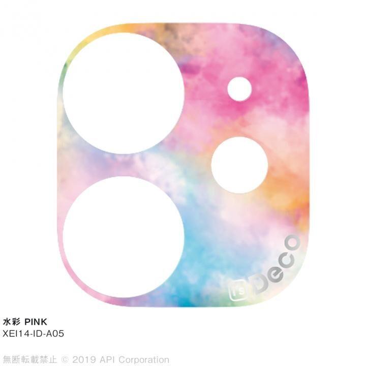 iPhone 11 ケース EYLE i's Deco カメラレンズ デコフィルム 水彩 PINK iPhone 11_0